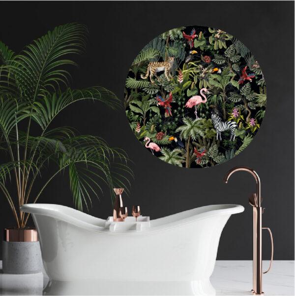 Jungle, tropical, tropical birds, macaws, toucans, zebra, wall art, vinyl print, vinyl sticker, vinyl decal, printed decal, wall art circle, wall tattoo